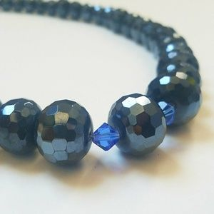 VTG Shimmery Blue Aurora Borealis Bead Necklace